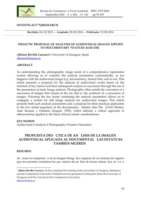 Didactic proposal of analysis of audiovisual images applied to documentary