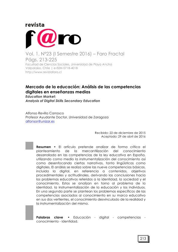 Mercado de la Educación; análisis de las competencias digitales en enseñanzas medias.