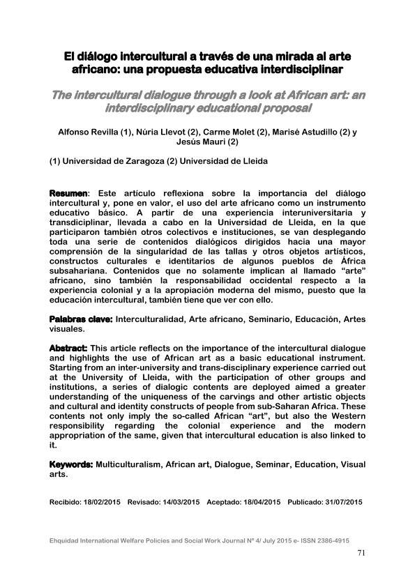 El diálogo intercultural a través de una mirada al arte africano: una propuesta educativa interdisciplinar