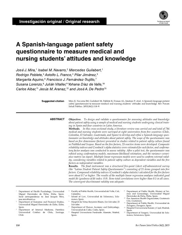 A Spanish-language patient safety questionnaire to measure medical and nursing students'' attitudes and knowledge