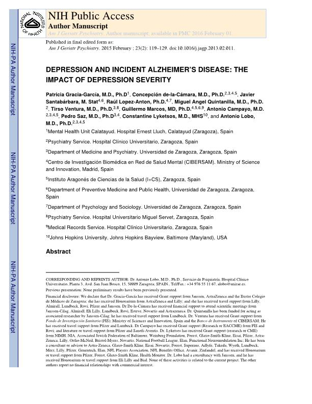 Depression and incident alzheimer disease: The impact of disease severity