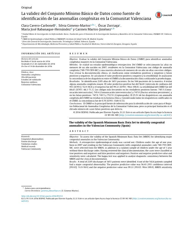 La validez del Conjunto Mínimo Básico de Datos como fuente de identificación de las anomalías congénitas en la Comunitat Valenciana