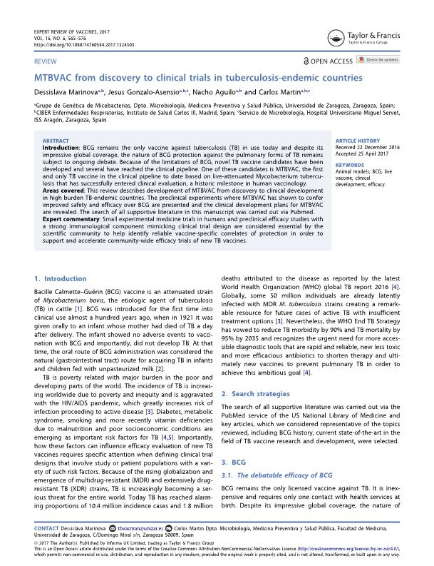 MTBVAC from discovery to clinical trials in tuberculosis