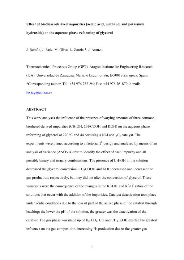 Effect of biodiesel-derived impurities (acetic acid, methanol and potassium hydroxide) on the aqueous phase reforming of glycerol