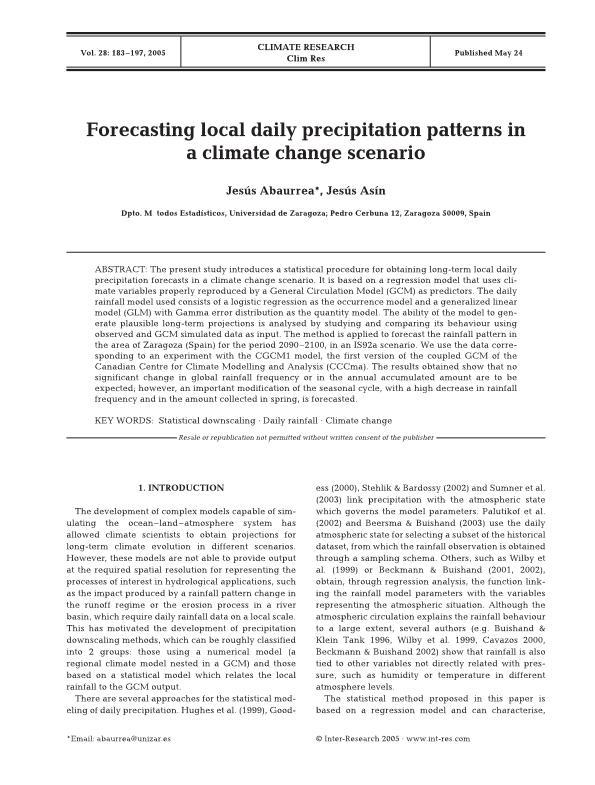 Forecasting Local Daily Precipitation Patterns in a Climate Change Scenario
