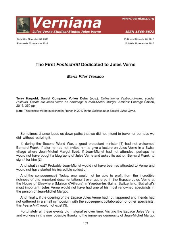 The First Festschrift Dedicated to Jules Verne