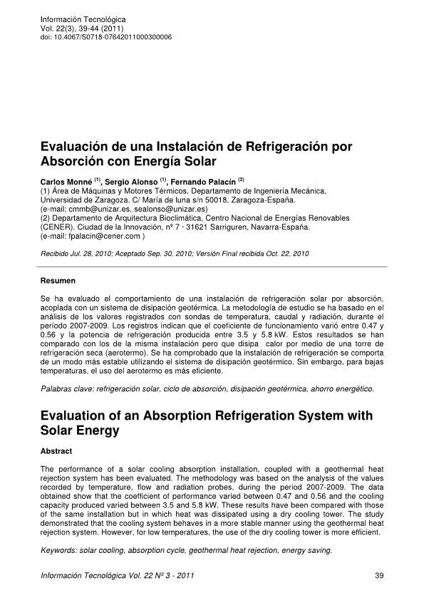 Evaluación de una Instalación de Refrigeración por Absorción con Energía Solar