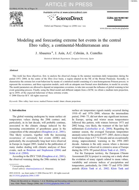 Modeling and forecasting extreme hot events in the central Ebro Valley, a continental-mediterranean area