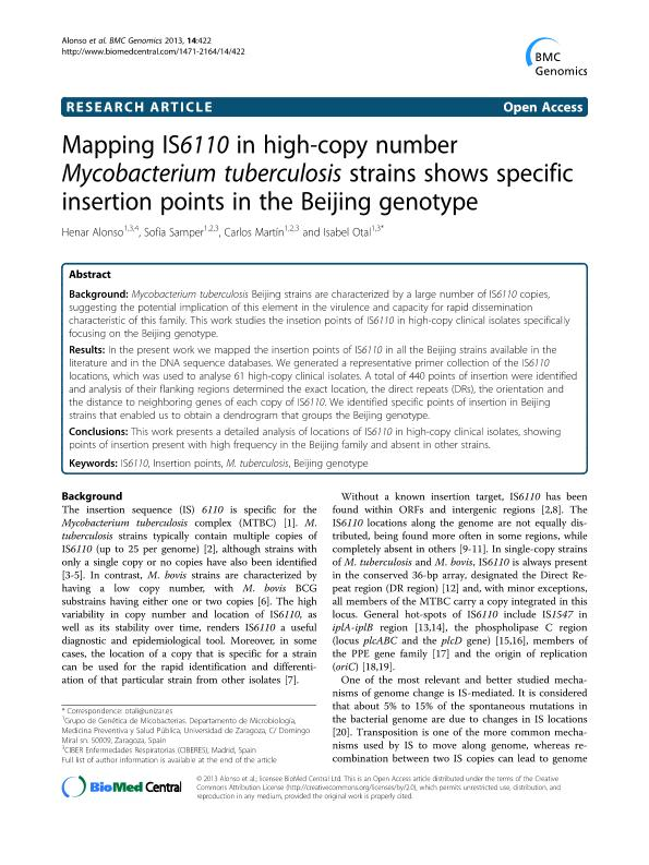 Mapping IS6110 in high-copy number Mycobacterium tuberculosis strains shows specific insertion points in the Beijing genotype