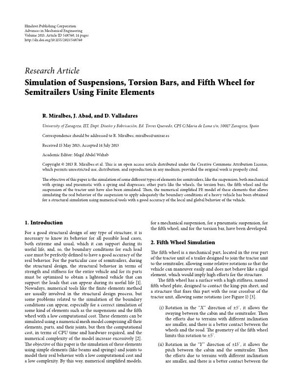 Simulation of Suspensions, Torsion Bars, and Fifth Wheel for Semitrailers Using Finite Elements