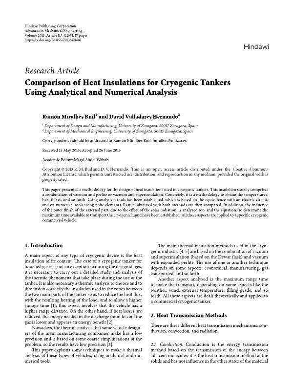 Comparison of Heat Insulations for Cryogenic Tankers Using Analytical and Numerical Analysis