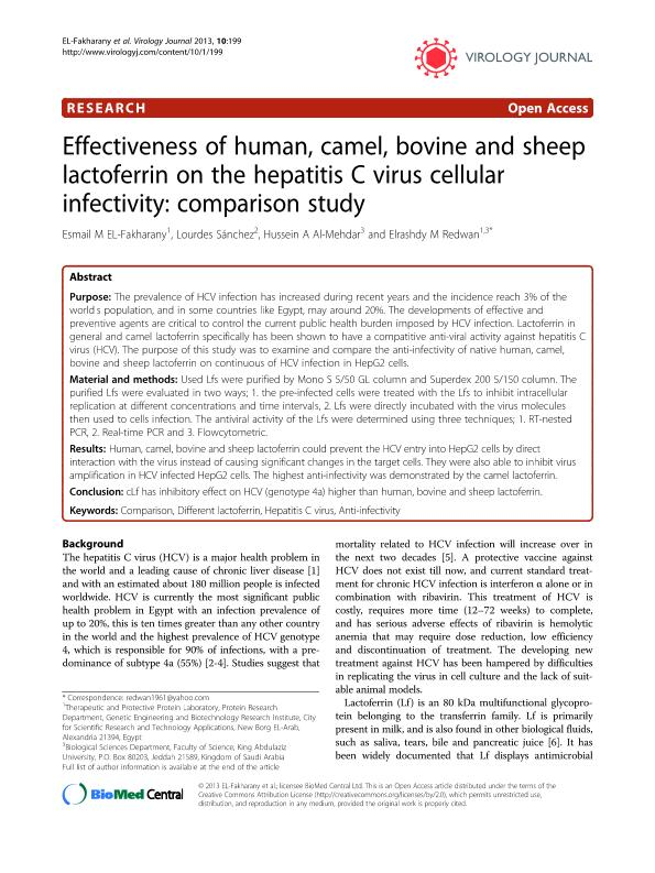 Effectiveness of human, camel, bovine and sheep lactoferrin on the hepatitis C virus cellular infectivity: Comparison study