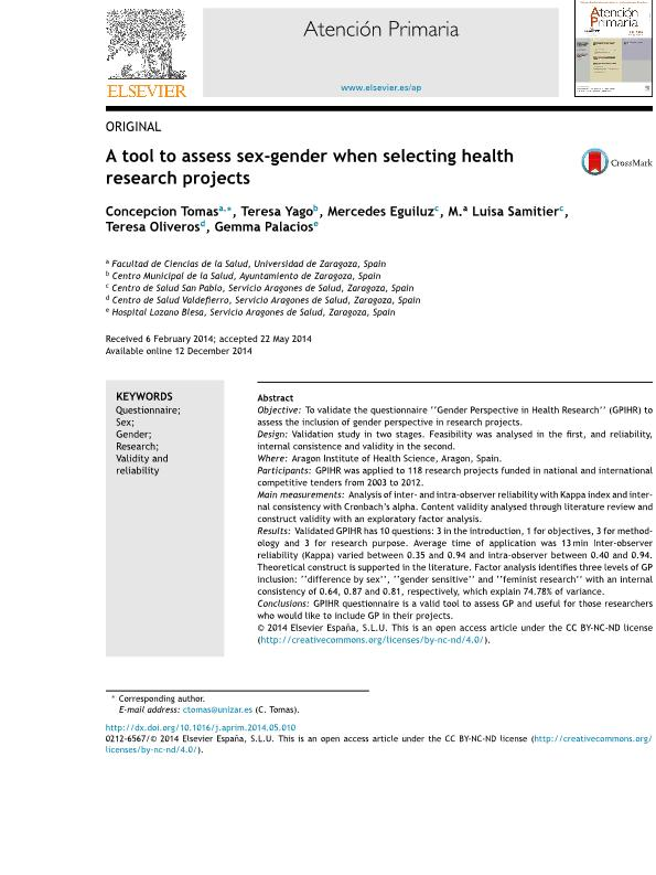 A tool to assess sex-gender when selecting health research projects