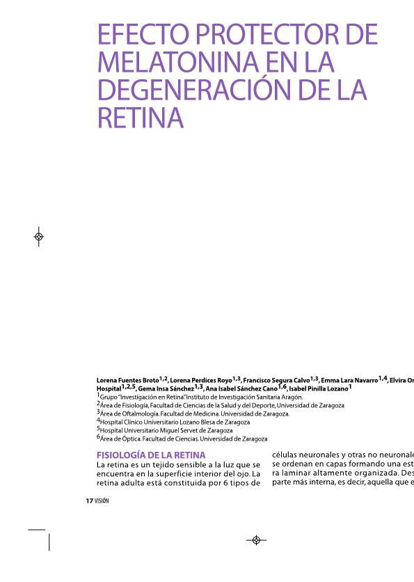 Efecto protector de melatonina en la degeneración de la retina