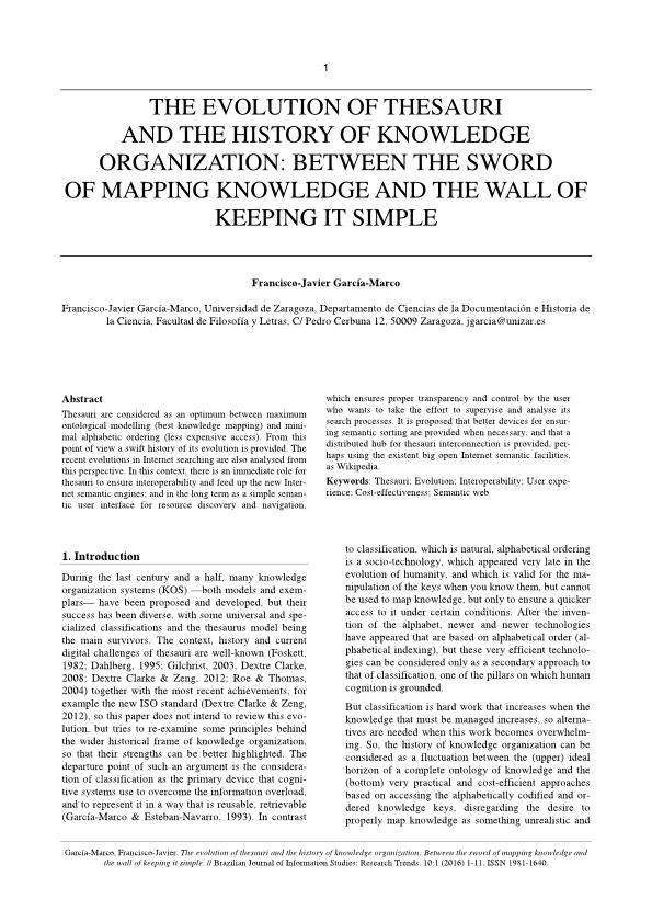 The evolution of thesauri and the history of knowledge organization: Between the sword of mapping knowledge and the wall of keeping it simple