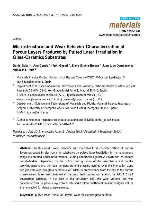 Microstructural and wear behavior characterization of porous layers produced by pulsed laser irradiation in glass-ceramics substrates