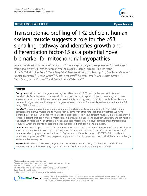 Transcriptomic profiling of TK2 deficient human skeletal muscle suggests a role for the p53 signalling pathway and identifies growth and differentiation factor-15 as a potential novel biomarker for mitochondrial myopathies