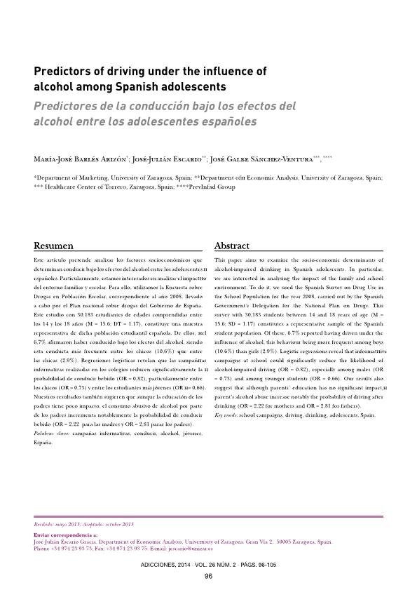 Predictors of driving under the influence of alcohol among Spanish adolescents