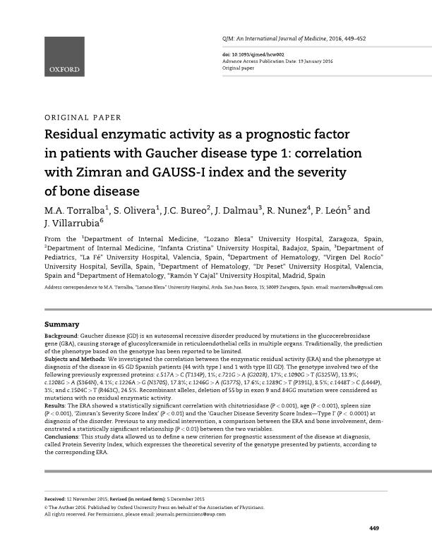 Residual enzymatic activity as a prognostic factor in patients with Gaucher disease type 1: Correlation with Zimran and GAUSS-I index and the severity of bone disease
