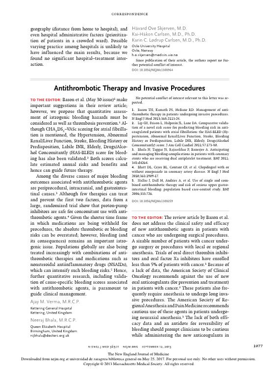 Antithrombotic therapy and invasive procedures [5]