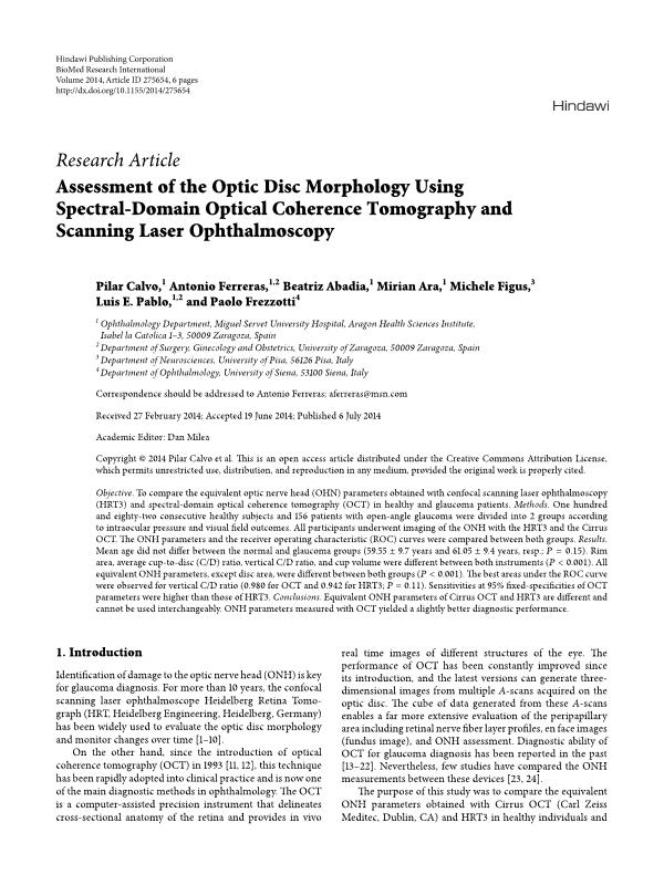 Assessment of the optic disc morphology using spectral-domain optical coherence tomography and scanning laser ophthalmoscopy