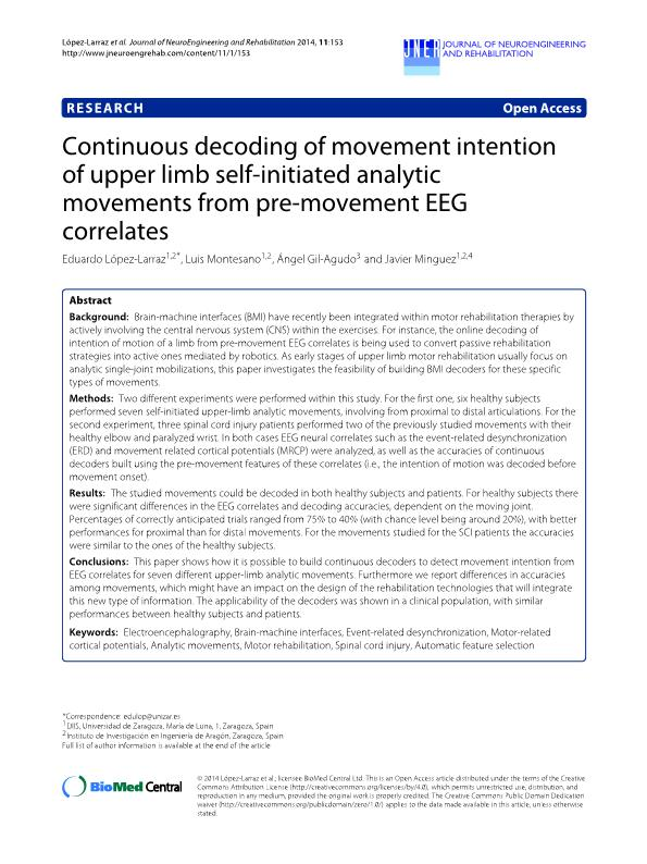 Continuous decoding of movement intention of upper limb self-initiated analytic movements from pre-movement EEG correlates