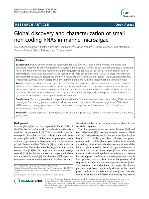 Global discovery and characterization of small non-coding RNAs in marine microalgae