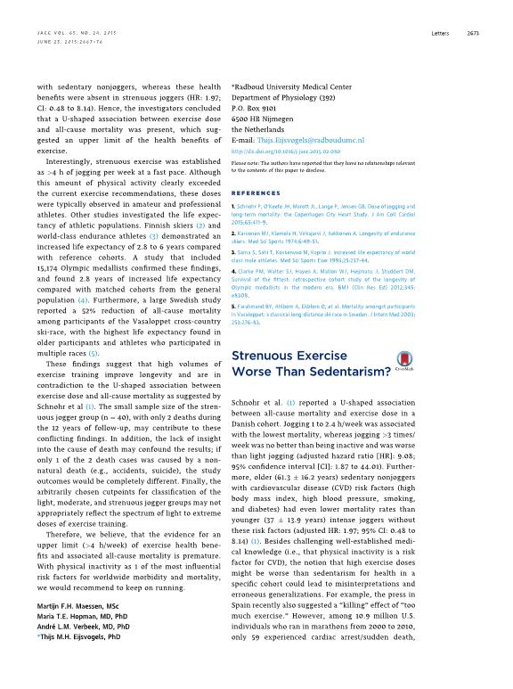 Strenuous exercise worse than sedentarism?
