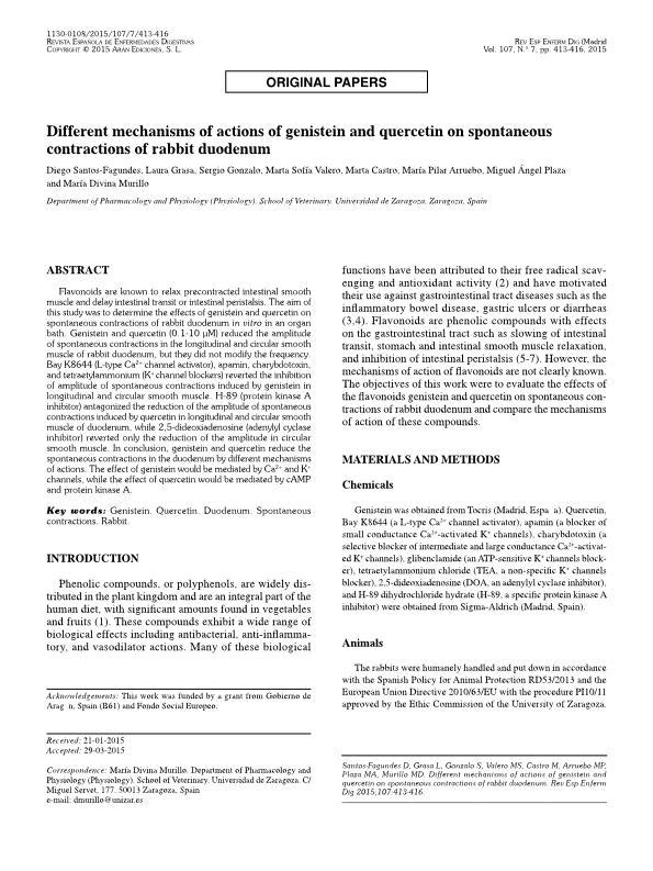 Diferentes mecanismos de acción de la genisteína y quercetina en las contracciones espontáneas del duodeno de conejo