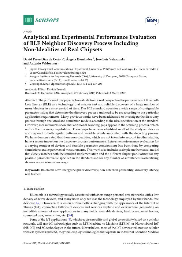 Analytical and experimental performance evaluation of BLE neighbor discovery process including non-idealities of real chipsets