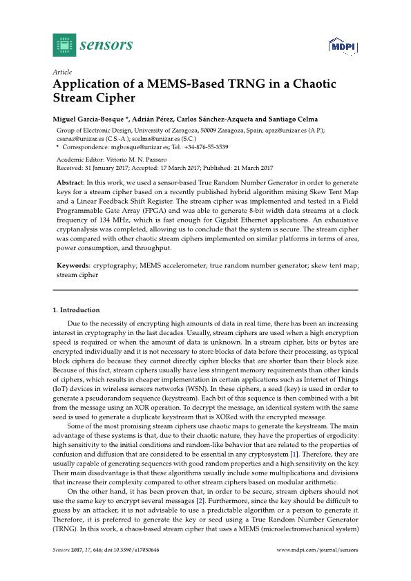 Application of a MEMS-based TRNG in a chaotic stream cipher