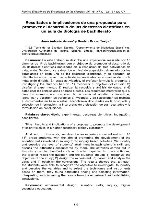 Resultados e implicaciones de una propuesta para promover el desarrollo de las destrezas científicas en un aula de Biología de bachillerato