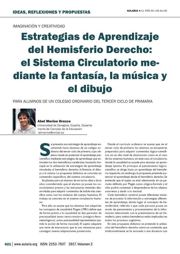 Estrategias de Aprendizaje del Hemisferio Derecho: El Sistema Circulatorio mediante la fantasía, la música y el dibujo.