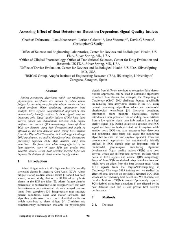 Assessing effect of beat detector on detection dependent signal quality indices