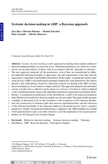 Systemic decision making in AHP: a Bayesian approach