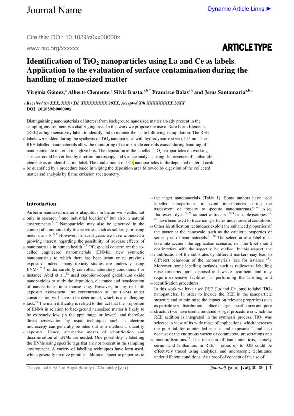 Identification of TiO2 nanoparticles using La and Ce as labels: Application to the evaluation of surface contamination during the handling of nanosized matter