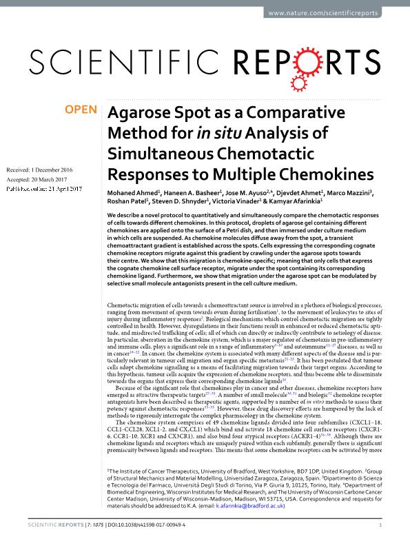 Agarose Spot as a Comparative Method for in situ Analysis of Simultaneous Chemotactic Responses to Multiple Chemokines /631/1647/767/70 /631/154/1435 /123 /13/21 /14/63 /13/31 article