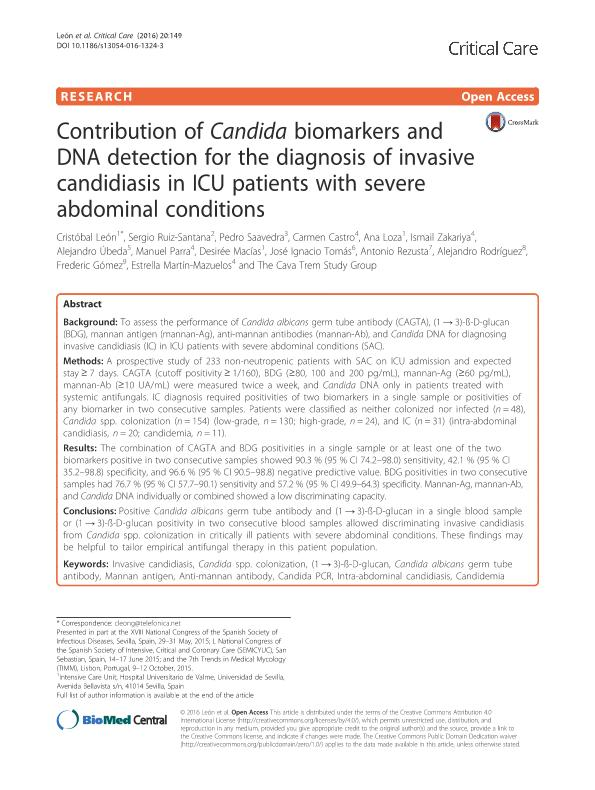 Contribution of Candida biomarkers and DNA detection for the diagnosis of invasive candidiasis in ICU patients with severe abdominal conditions