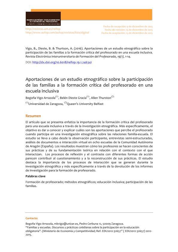 Aportaciones de un estudio etnográfico sobre la participación de las familias a la formación crítica del profesorado en una escuela inclusiva.