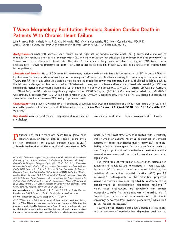 T-wave morphology restitution predicts sudden cardiac death in patients with chronic heart failure