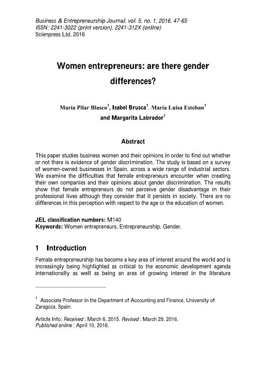 Women entrepreneurs: are there gender differences?