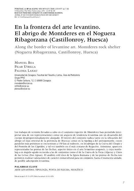 En la frontera del arte levantino. El abrigo de Montderes en el Noguera Ribagorzana (Castillonroy, Huesca)