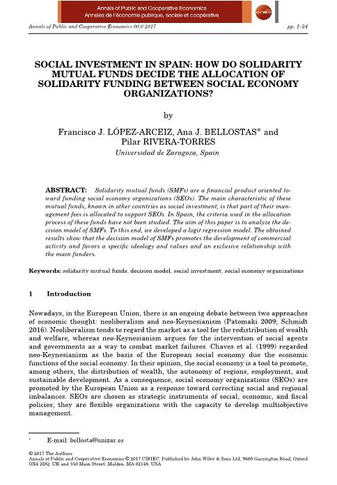 Social investment in Spain: How do solidarity mutual funds decide the allocation of solidarity funding between social economy organizations?