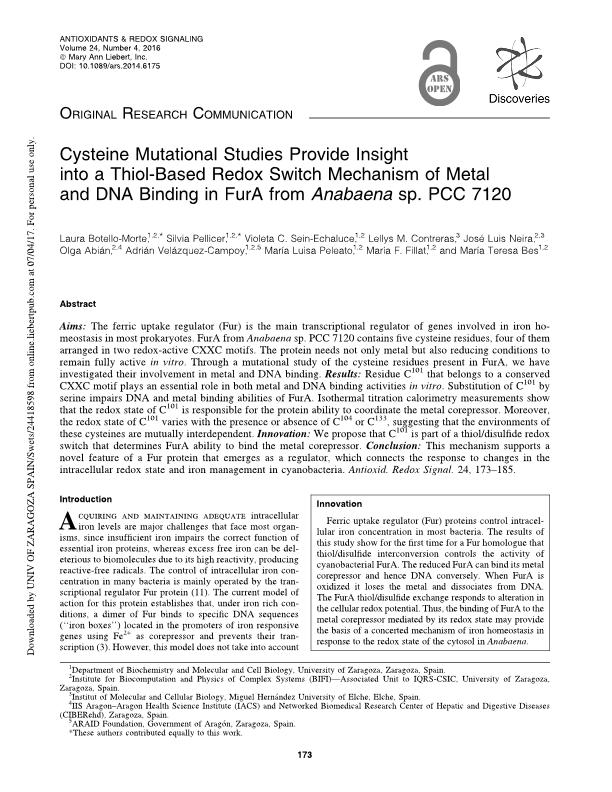 Cysteine mutational studies provide insight into a thiol-based redox switch mechanism of metal and DNA binding in FurA from Anabaena sp. PCC 7120