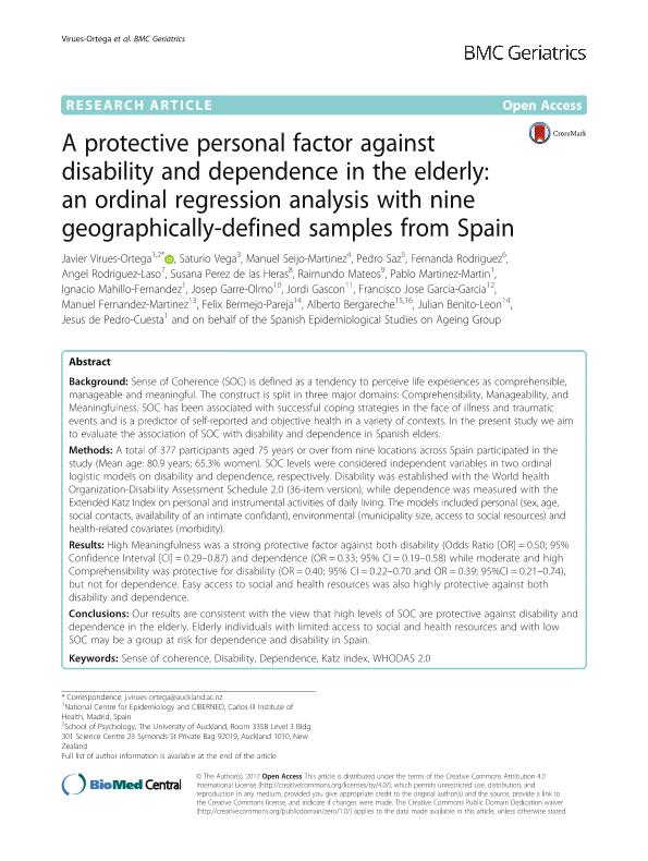 A protective personal factor against disability and dependence in the elderly: an ordinal regression analysis with nine geographically-defined samples from Spain
