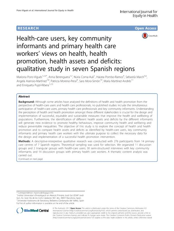 Health-care users, key community informants and primary health care workers' views on health, health promotion, health assets and deficits: Qualitative study in seven Spanish regions