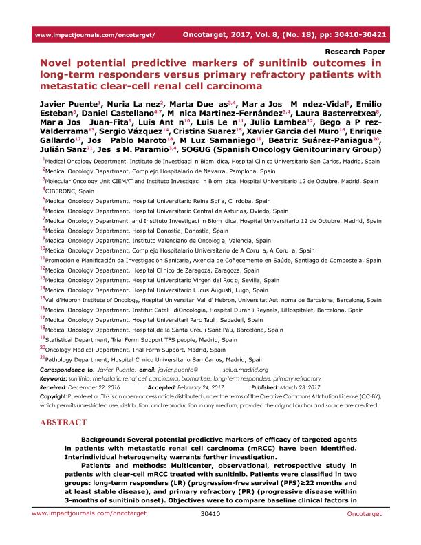 Novel potential predictive markers of sunitinib outcomes in long-term responders versus primary refractory patients with metastatic clear-cell renal cell carcinoma