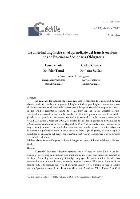 La ansiedad lingüística en el aprendizaje del francés en alumnos de Enseñanza Secundaria Obligatoria