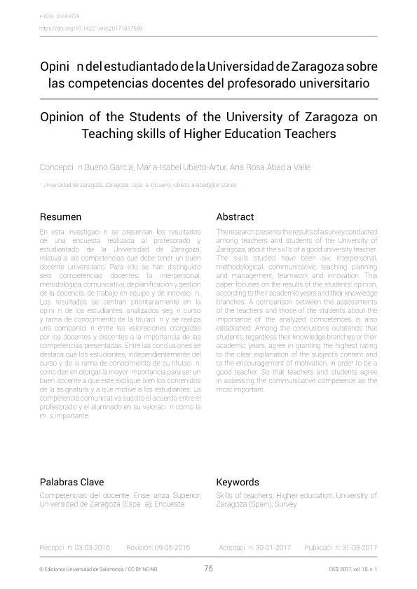 Opinion of the students of the University of Zaragoza on teaching skills of higher education teachers [Opinión del estudiantado de la Universidad de Zaragoza sobre las competencias docentes del profesorado universitario]