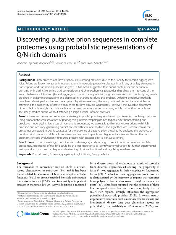 Discovering putative prion sequences in complete proteomes using probabilistic representations of Q/N-rich domains